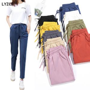 LYZCR Estate Pantaloni Pantaloni Donna 2020 Allentato Casual Harem Pants linea di Cotone A Vita Alta Per Le Donne Elastico In Vita