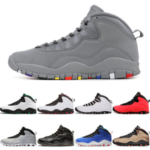 Cool Gray 10 Jumpman Basketball Chaussures 10s Seattle GS Red Fusion Chicago Cement Je suis hommes gris acier dos sport sneakers formateurs 7-13