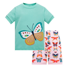 Summer Baby Boys Girls Pajamas Sets Cartoon color Dinosaur Striped Printed T shirts+Pants Set Kids Homewear Outfits Children Pajamas