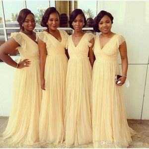 2020 Elegant V-Neck A-Line Long Bridesmaids Dresses Sweep Train Custom Vestidos De Bridesmaid Prom Party Gowns Short Sleeves