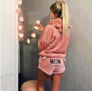 Señoras de las mujeres de la manga larga caliente con capucha + pantalones cortos de remolque juego de piezas pijama de la ropa de noche Trajes