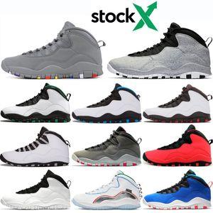 Air Jordan Retro 10 diseñador zapatos de baloncesto para hombre 10 Tinker Cemento 10s zapatos para hombre Gris fresco Estoy de vuelta chicage Polvo azul zapatillas