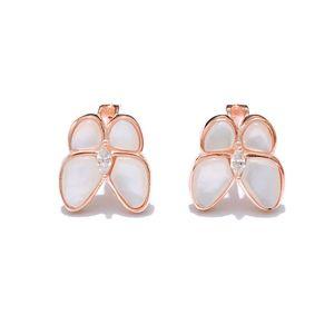 Fashion-Clover ear nail s925 pure silver plating 18k gold fashion simple white shellfish butterfly ear nail