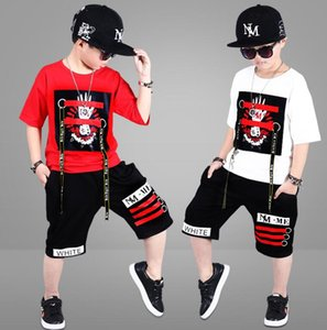 2020 best selling boys' summer suit new summer children's wear medium and large children's boys' short sleeve two piece suit tide suit 110-1