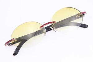 Vente en gros Pierres Big Red Lunettes Vintage Noir Corne de buffle 3524012 Rimless Lunettes de soleil Véritable naturelles ronde unisexe ovale lunettes