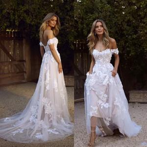 Sexy Land Boho Brautkleider 2020 Backless eine Linie weg von der Schulter Appliqued Tulle lange Sommer Brautkleider Bohemian BM1510