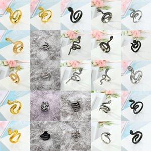 Großhandels20pcs Art und Weise Punkring Unisex Edelstahl Gothic Schwarz-Silber-Kobra-Schlange Ring Black Mamba Ring Modeschmuck