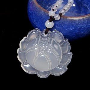 Natürliches Seed Weiß Chalcedon Lotus-Anhänger Fashion Lady Chalcedon-Strickjacke-Kette Schmuck Jade Geburtstags-Geschenk