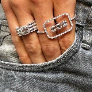 GODKI Monaco design Déclaration de luxe Bague superposable pour les femmes de mariage cubique Zircon fiançailles Dubaï Punk mariée Deux anneaux de doigts