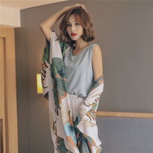 JULY'S SONG 4 Piece Spring Summer Women Pajamas Sets Floral Printed Pajamas Set Viscose Top and Shorts Female Night Suit Set CX200606