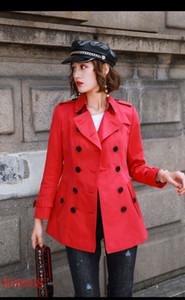 المرأة خندق معاطف قصيرة سليم خندق معطف مزدوجة الصدر Gambardine القطن سترات الكاكي الأحمر البريطاني نمط S-XXL المرأة AA4FSDGF سترات