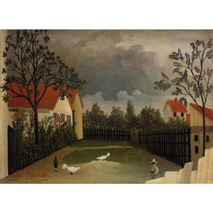 Wall art oil paintings The Poultry Yard Henri Rousseau Landscapes painting for bedroom hand-painted