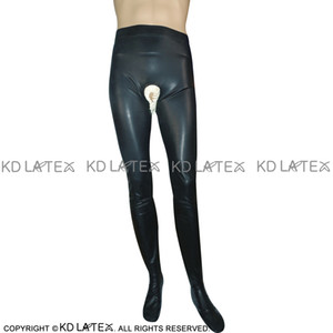 Black With White Frilled Sexy Latex Leggings Open Crotch Fetish Bondage Rubber Pants Jeans Trousers Bottoms 0020