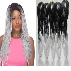 synthetic hair extensions wholesale price black silver two tone jumbo braiding ombre synthetic braid hair for black woman free shipping
