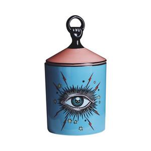 جميل التصميم عيون كبيرة الأيدي جرة مع اغطية علب السيراميك ديكور شمعة حامل علب التخزين ديكور المنزل صندوق لماكياج