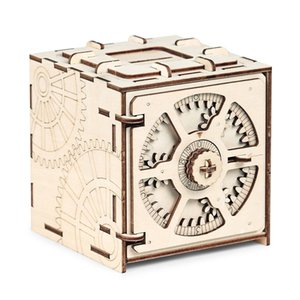 Cipher Code Deposit Box 3D Puzzles Mechanical Wooden Model Puzzle Educational Toys Assembly And Detailed Stitching Steps Y200704