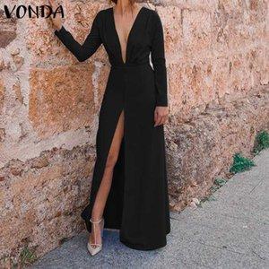 Dress Plus Size VONDA estate delle donne 2019 Vintage Tuta sexy a V profondo del partito del collo Vestito estivo Notte Vestiti casual Robe Femme 5XL