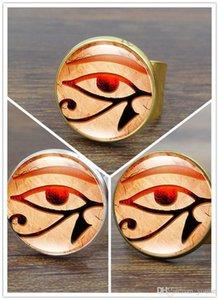 10 pcs 3 cor olho de horus anel de arte do vintage cúpula horus eye rings para as mulheres anel de prata jóias ajustável por atacado