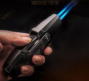 Mais recente Honest Strong Jet Torch Lighter Ignition Duplo Fogo Direto de cigarro de gás butano Ferramentas à prova de vento Isqueiro Para Outsdoor churrasco cozinha