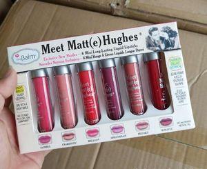 Meet Matte Hughes 6pcs Brillo de labios Set 6 colores Mini maquillaje Lápiz labial líquido Crema de labios de larga duración con la marca Cosmética Barras de labios
