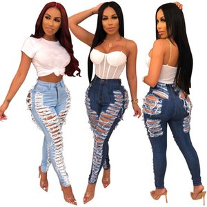 High Street Ripped Hole Jeans Women's Destroyed High Waist Distressed Slim Denim Jeans Sexy Skinny Pencil Pants Summer Pants T200608