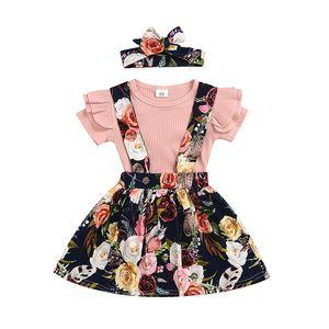 8styles Girls Girls Skirt Skirt Outfits Romper ROPS + Stampa floreale Abito con cinturino con fascia 3pcs / set Moda Boutique Bambini Abbigliamento Abbigliamento set M1998