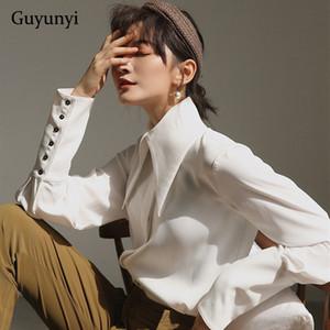 Angleterre Vintage Style Chemisier blanc 2019 Lanterne automne à manches longues Big Pointu simple Lapel confortable lâche Shirt Femme Y200422