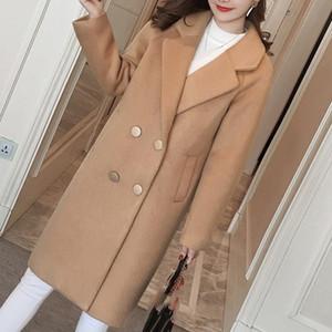 Kadın Kış Katı Pembe Blend Coat Kadın Dış Giyim Kadın Kış Uzun Bayanlar Coat Plus Size Casual Düğme Giyim
