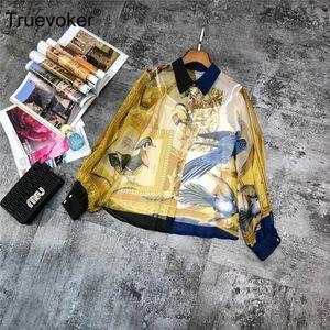 Truevoker Bahar Tasarımcı% 100 İpek Bluzlar Kadın Yüksek Kalite Peter Pan Yaka Puff Kol Kuşlar Baskılı Gevşek İpek Gömlek üstü