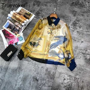 Truevoker Primavera Designer 100% Peter Pan di alta qualità di seta camicette Donne Collare Puff manica Uccelli stampata allentata camicia di seta Top