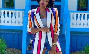 Stilista di moda a righe stampato Blazers autunno delle donne risvolto collo donne cappotto casuale di contrasto di colore Abbigliamento Donna