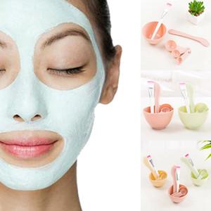Plástico 4 en 1 DIY Facial Máscara de Belleza Tazón de Herramienta Cosmética Mezcla Spong Con Stick Brush Set Para Mujeres Damas
