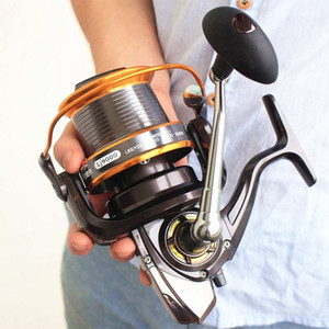 FDDL Carp Fishing Reel Spinning Reel High Speed ​​4.11: 1 12 + 1BB 13Ball Cuscinetti Sinistra / Destra LJ9000 Mar rotella di pesca del metallo Pesca T191015
