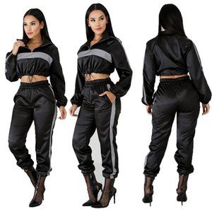 2019 Reflective Tracksuit 2 Two Piece Set Women Clothes Black Crop Top+Pants Sweat Suit Sexy Club Outfits Matching Sets