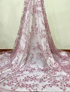 Últimas flor cor-Africano 3D Lantejoulas Lace Fabric 2019 de alta qualidade nigeriana casamento Tulle Lace Fabric Para Africano Mulheres nupcial BF0090