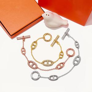 Joyería de moda pulseras de las mujeres H con cristales porcina hocico amor brazalete de tres colores encanto joyería de moda pulseras femle
