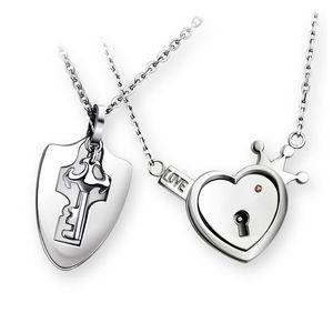 Titanyum Çelik Çift Kolye Aşk Kalp Kilidi Mood Seti Çift Kolye Erkekler ve Basit Moda kolye Kadınlar kolye A Çifti
