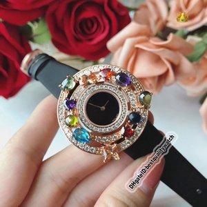 Дешевые Для высокого качества ювелирных изделий Astrale 102011 AEP36D2CWL черный циферблат розовое золото Алмазный диск Швейцарский Кварц Женская мода Luxry Lady часы