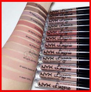 Hot NYX lingerie liquid lipstick matte lip gloss nyx cosmetics makeup waterproof long lasting lipgloss 12 colors Fashion Charm free shipping