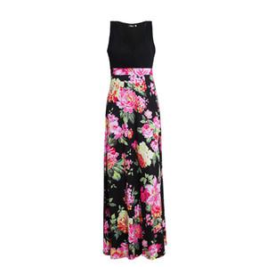 Европейские и американские платья с принтом Лето Новый V-образный воротник без рукавов Жилет Длинная юбка