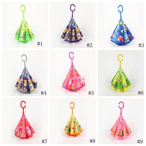 9style Çocuk Karikatür Hayvan Şemsiyeler Çocuk C Tipi Ters Şemsiye Çift Katmanlı Rüzgar kesici Şemsiyeler Açık Balıkçılık Şemsiye GGA3534-4