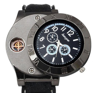 New USB Charge Lighter Watch Windproof Electronic Flameless Lighter Watches Men Watches Quartz Clock relogio masculino