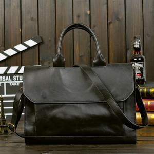 Men Briefcases Lawyer Leather Handbag Vintage Laptop Briefcase Male Computer Shoulder Bags Casual Men Office Portable Bag