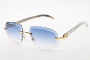 Vente Rimless lunettes de coupe de diamant blanc véritable corne de buffle Corne Lunettes de soleil 3524012-B Mode de haute qualité en métal Lunettes mâle et femelle