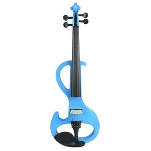 NAOMI Electric 4/4 바이올린 사일런트 픽업 Basswood 바이올린 Pegs 핑거 보드 FULL SIZE VIOLIN SET 블루 S