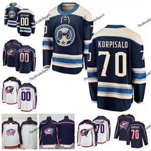 2019 새로운 대체 Joonas Korpisalo 콜럼버스 블루 재킷 하키 유니폼 Mens 사용자 정의 이름 70 Joonas Korpisalo 스티치 하키 셔츠 S-XXXL