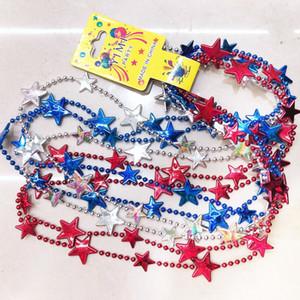 Patriotic Red Blue Star Bead Necklace Cuarto de julio Collares de cuentas EE. UU. Día de la Independencia de América Collar de estrellas de plástico para fiesta Favous