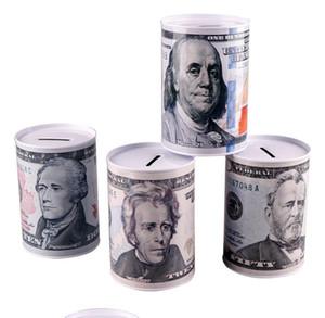 الإبداعية اليورو دولار معدني اسطوانة أصبع البنك توفير المال مربع الديكور المنزل القصدير أصبع بنك الطفل أصبع البنك شحن مجاني