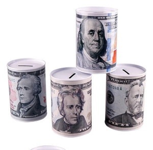Yaratıcı Euro Dolar Metal Silindir Kumbara Tasarruf Kumbara Ev Dekorasyon Teneke Kumbara Çocuk Kumbara Ücretsiz Kargo