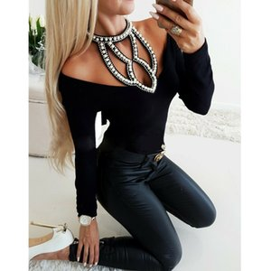 Women Studded Beaded T Shirt Hollow Out Solid V-Neck Tees Female Ladies Long Sleeve T-shirts Slim Casual Tops Clothes Femme